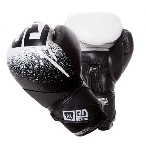 Gants de boxe rumble V5 CUIR Ltd STENCIL noir/blanc RD boxing