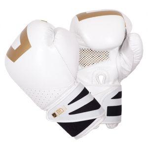 gants de boxe ultimate V5 CUIR Ltd blanc/gold RD boxing