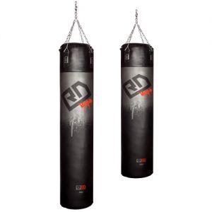 heavy leather punching bag v4 black