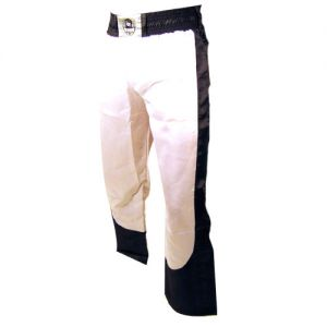 pantalon full contact a bandes stretch blanc noir