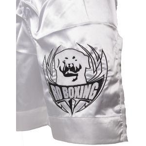 short kick boxing blanc logo noir